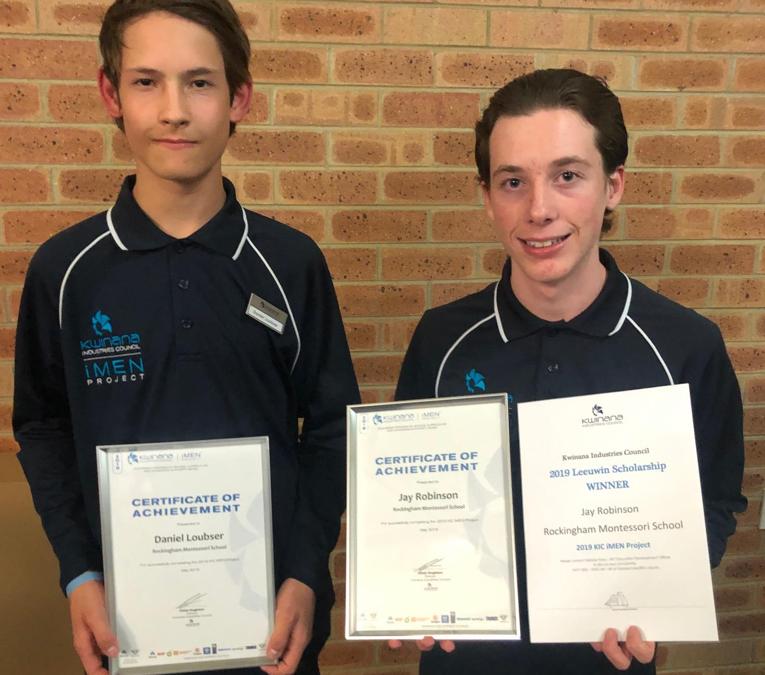 Rockingham Montessori students holding KIC iMen Leeuwin Scholarship winner certificates