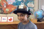 Rockingham Montessori student wearing a meme hat for Upper Primary's art week