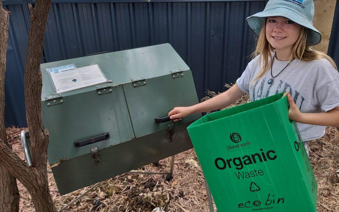 RMS student segregating waste